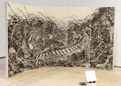 佐藤 麻依子 ― 「回路/巣・軌道」版画 / 板紙凹凸版