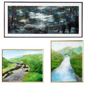 庄子 理恵 ― 「緑の小川」「水波に耐える岩」「小岩の道」「小さな滝」洋画 / 油彩